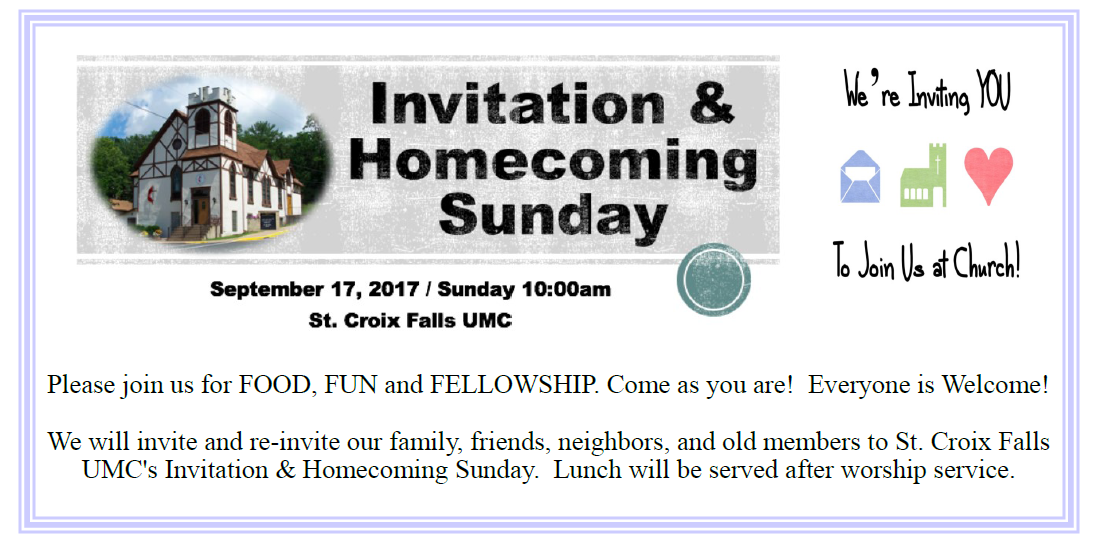 Special Invitation Homecoming Sunday September 17th Upper St