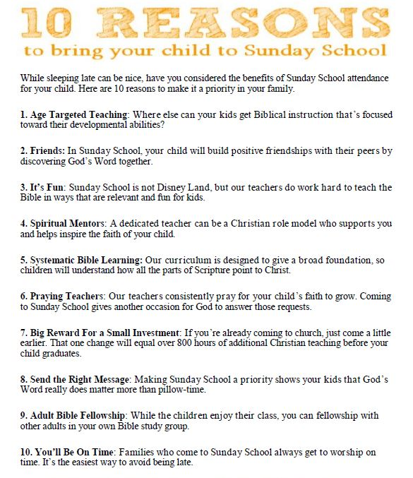 10 Reasons to Bring your Child to Sunday School – Upper St  Croix Parish